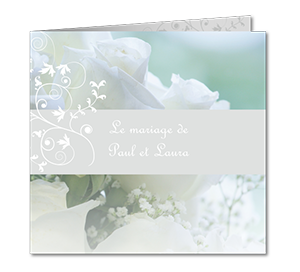 Faire part mariage bouquet blanc