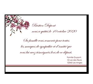 Cartes de remerciement décès fleurs cerisiers