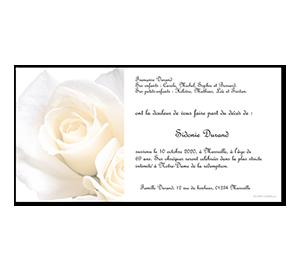 Cartes de remerciement décès roses blanches