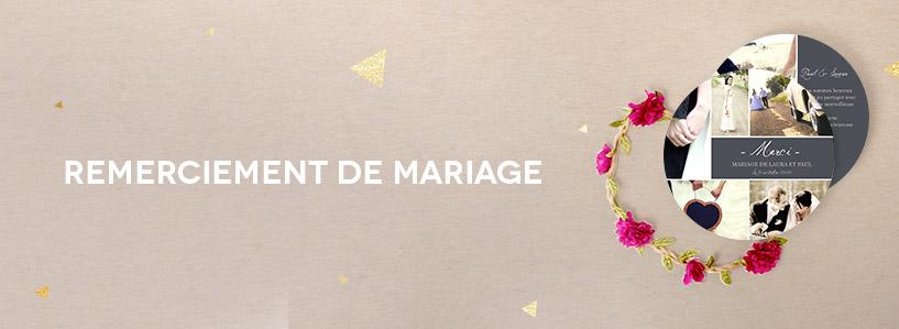 Cartes de remerciement de mariage
