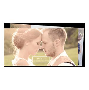 Remerciements mariage cadre blanc romantique