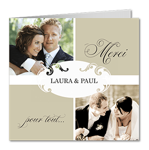 Remerciements mariage étiquette et photos