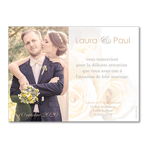 Remerciements mariage roses blanches